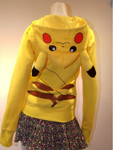 Free Shipping Popular Japan Cartoon Pokemon Lovely Pikachu Hoodie Jacket Hoody with Zipper Cute Cosplay Costume Clothes(China (Mainland))