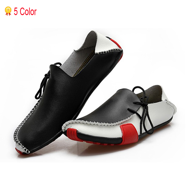Men Sneakers New 2015 Leather Men's Flat Driving Fashion Casual Women's Lace-Up Wading Jogging Sport Shoes 39-47 - High-end Store store