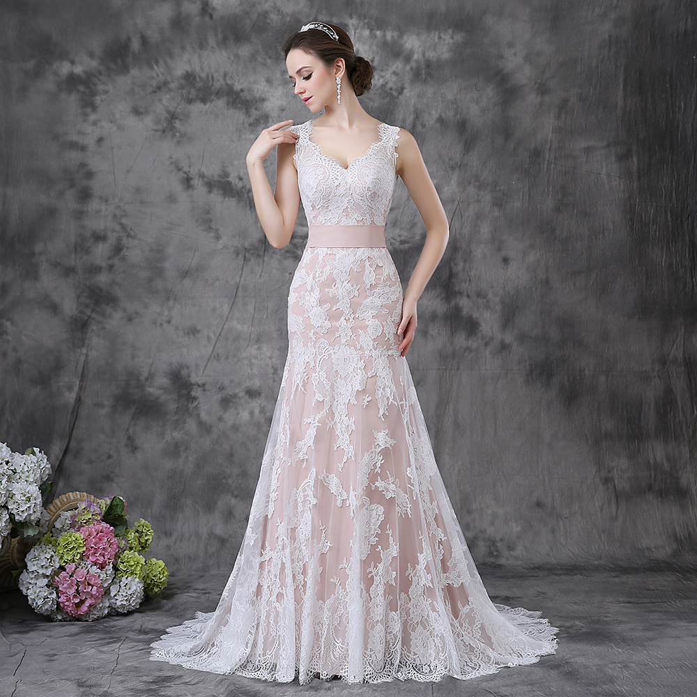 Champagne Wedding Dresses A Line : Sleeveless v neck sexy backless lace a line champagne