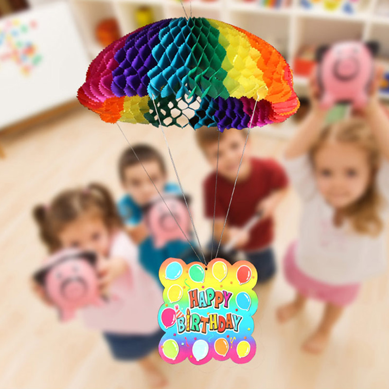 Wholesale 50pcs/lot New 36cm Large Colorful Hanging Paper Garlands Wedding Party Birthday Baby Decoration Parachhute Shape(China (Mainland))