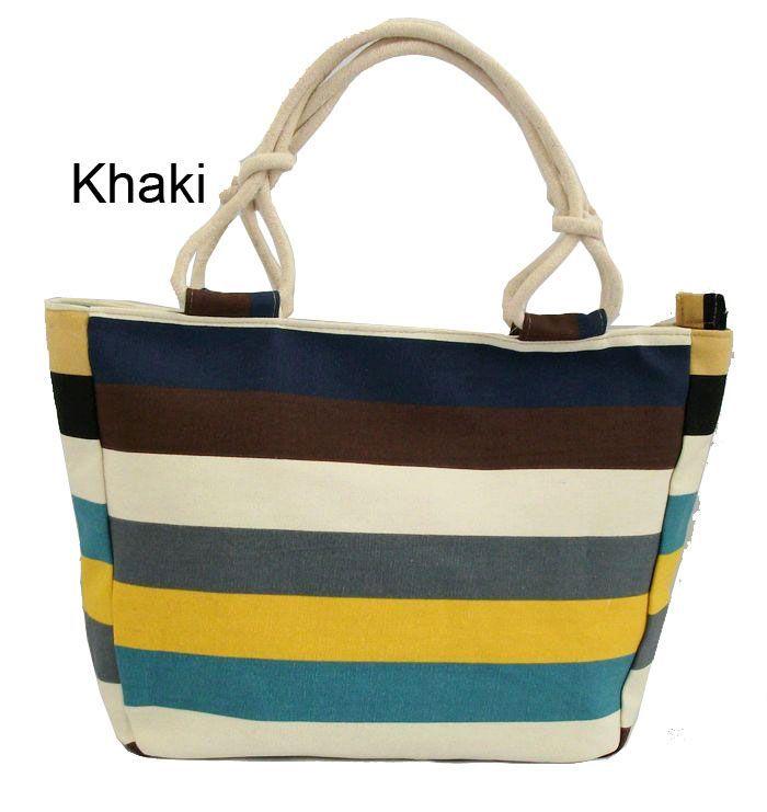 Women's Handbag Casual Women Shoulder Bag Printing Bag Canvas Beach Bag Stripped Colorful Bag Free Shipping #5(China (Mainland))