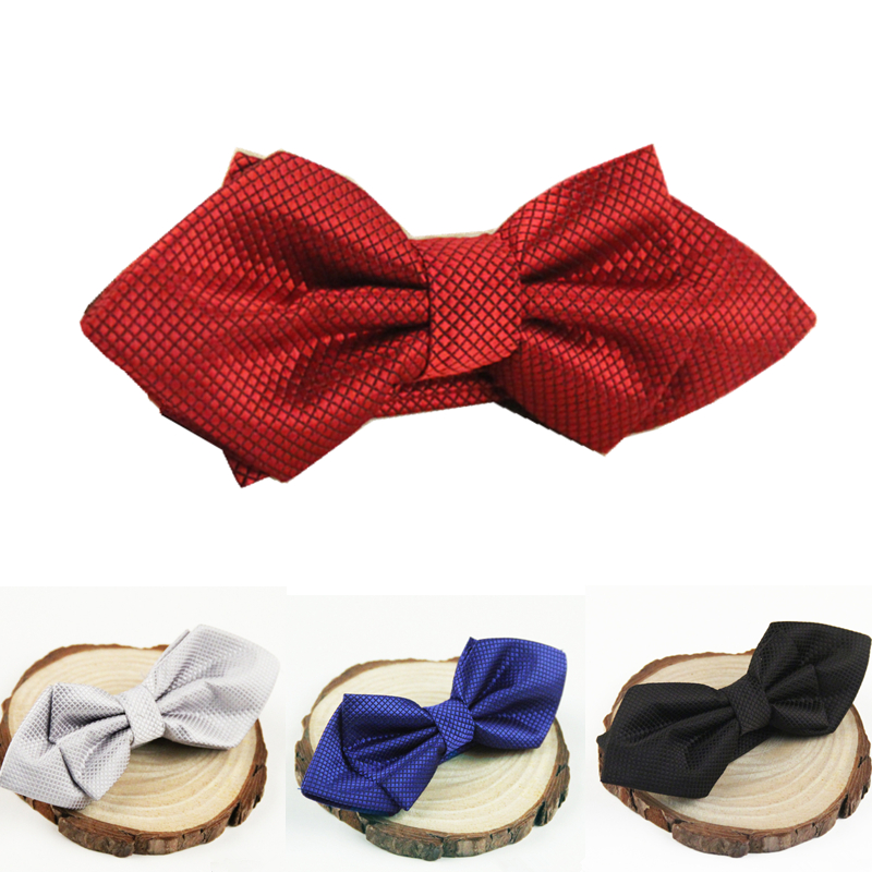 New arrival fashion plaid sharp corner bow tie polyester ties for men cravat butterfly bowtie(China (Mainland))