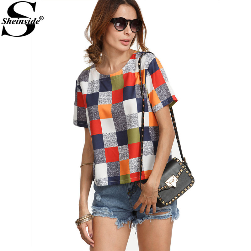 Sheinside Multicolor Round Neck Plaid Casual Tops Women Casual Wear Shirt Summer Short Sleeve Color Block Blouse(China (Mainland))