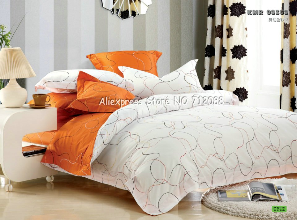Home design premium cotton orange white line modern pattern duvet quilt covers 4pc queen bedding - Home design sheets ...