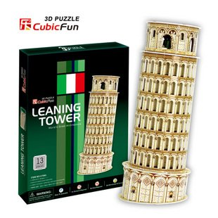 Candice guo! 3D puzzle architectural 3D paper model simple version jigsaw game Leaning Tower(China (Mainland))