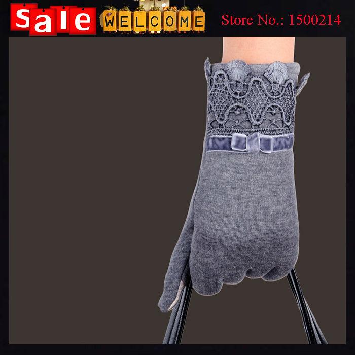 2016 Grey Purple Touch Screen Gloves Winter Warm Soft Cotton Leather Wrist Gloves Fashion Bow Elegant Women's Gloves & Mittens(China (Mainland))
