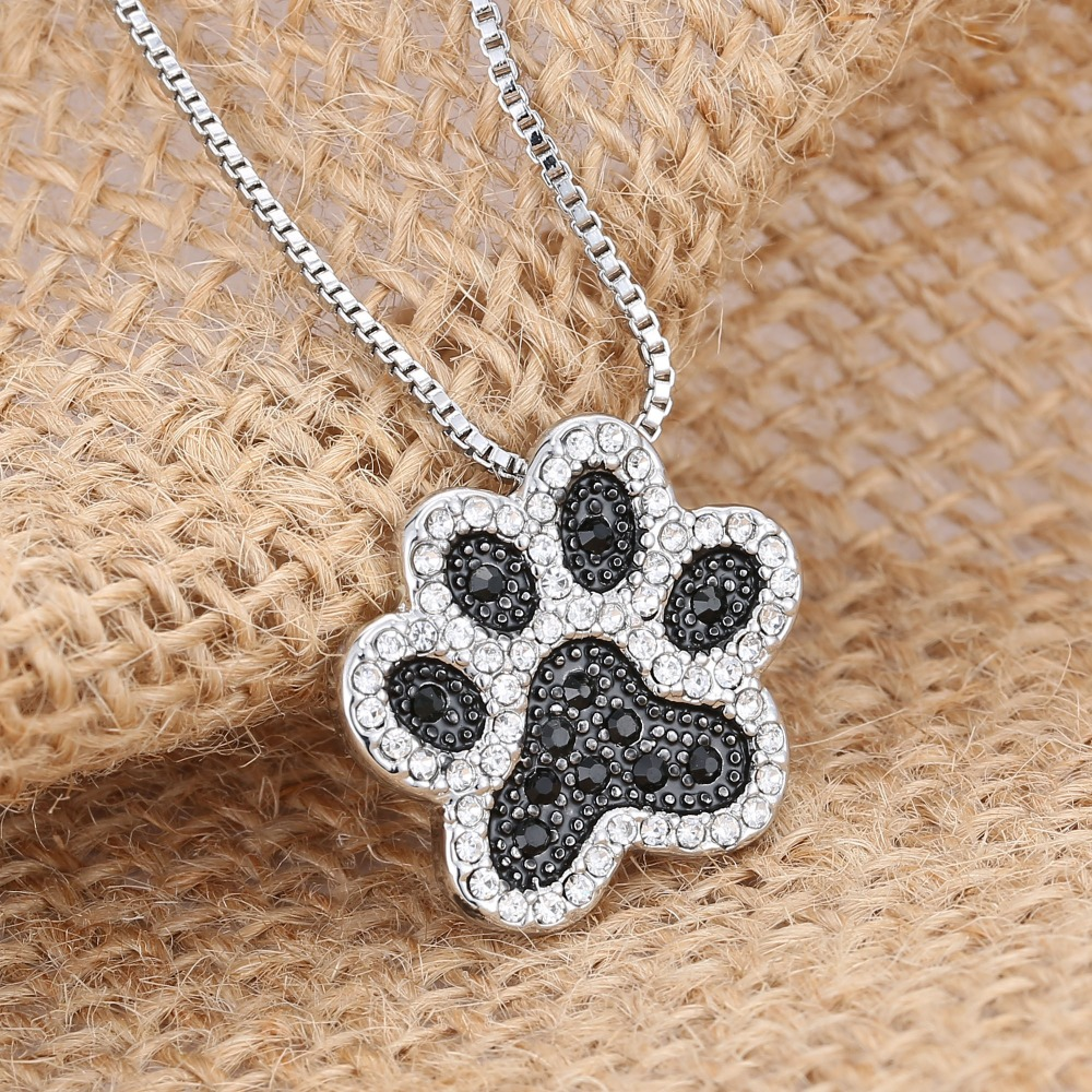 Pendant Necklace women girl Personalized charming Fashion jewelry Silver plated Black White crystal rhinestone Dog Paw