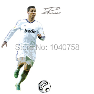 Large C Ronaldo Soccer Sports Wall Sticker Football Wall Decal for Kid Boy Room Decoration Wall Art Poster Wallpaper(China (Mainland))