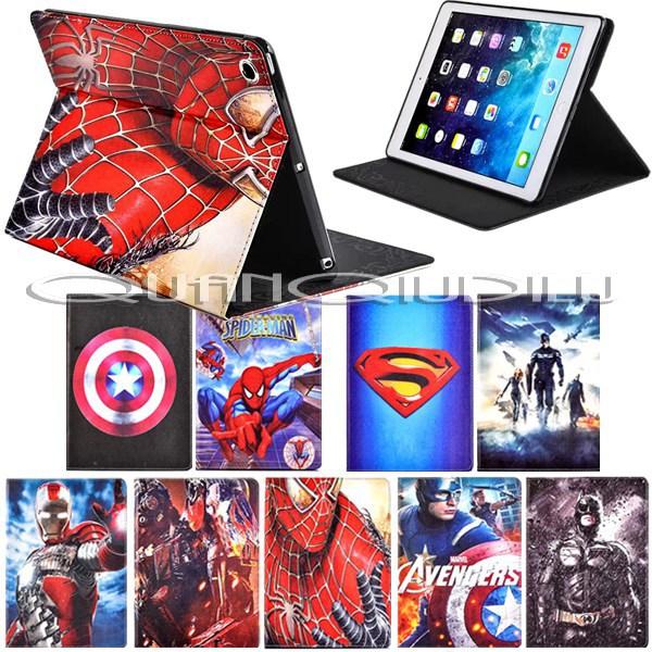 lPad 5 Pad Air Case Spider-Man superman Captain America Avengers Iron Man Batman Folding cover Magnetic  -  quanqiudilu store