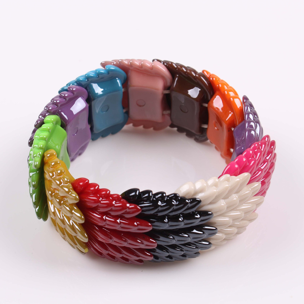 2016 rainbow colors resin jewelry fashion bracelet fish scale design for women(China (Mainland))