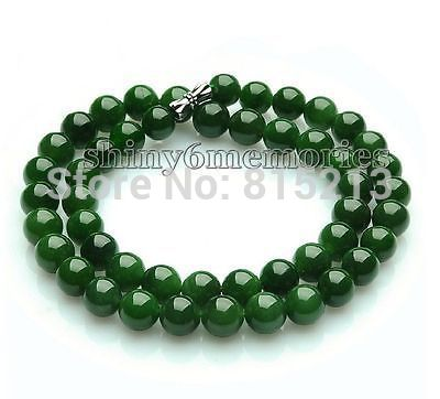 ddh001377 Genuine natural green spinach Nephrite Jade 8mm gem lady Necklace long size 46cm<br><br>Aliexpress