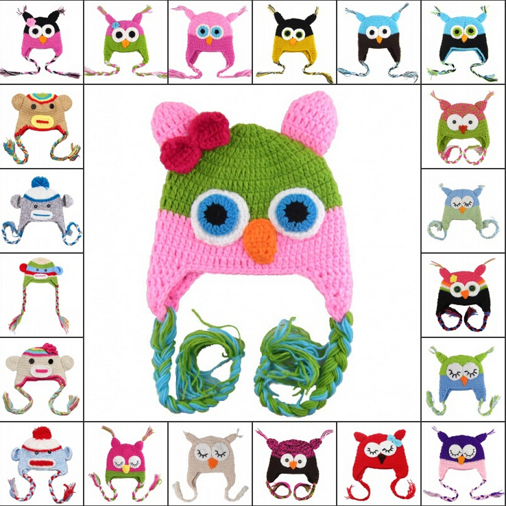 1-2Year Baby Toddler Kids Unisex Owl Pattern Knitted Crochet Beanie Warming Earflap Hat for Photo Prop Costume(China (Mainland))