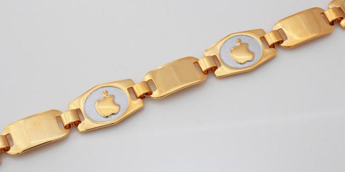 The Golden Apple Bracelet Men /Women Free Shipping 18K Real Gold Plated Brand Logo Link Chain Bracelets Bangles men jewelry H595(China (Mainland))