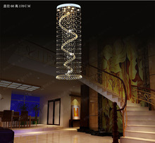 2015 new long chandelier crystal chandelier modern staircase penthouse villa stairs light LED large hanging wire lights(China (Mainland))