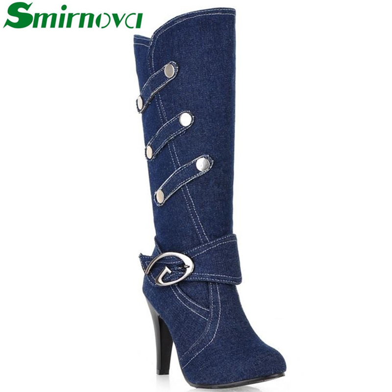 2016 New Fashion Boots Spring Autumn Denim Knee High Boots High Heels Buckle Strap Metal decoration Ladies Shoes(China (Mainland))
