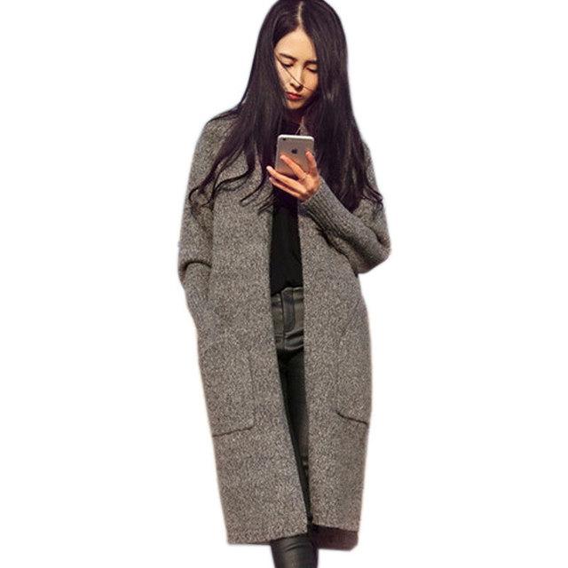 Рождество пальто для женщин карманные вязаные Женщины Длинные Кардиган 2015 Крупногабаритные ...