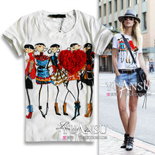 [yuansu brand] 2014 Newest blusas femininas 2014 3D Applique Illustrator Print Short-sleeve Elastic Women T-shirt tops for women(China (Mainland))