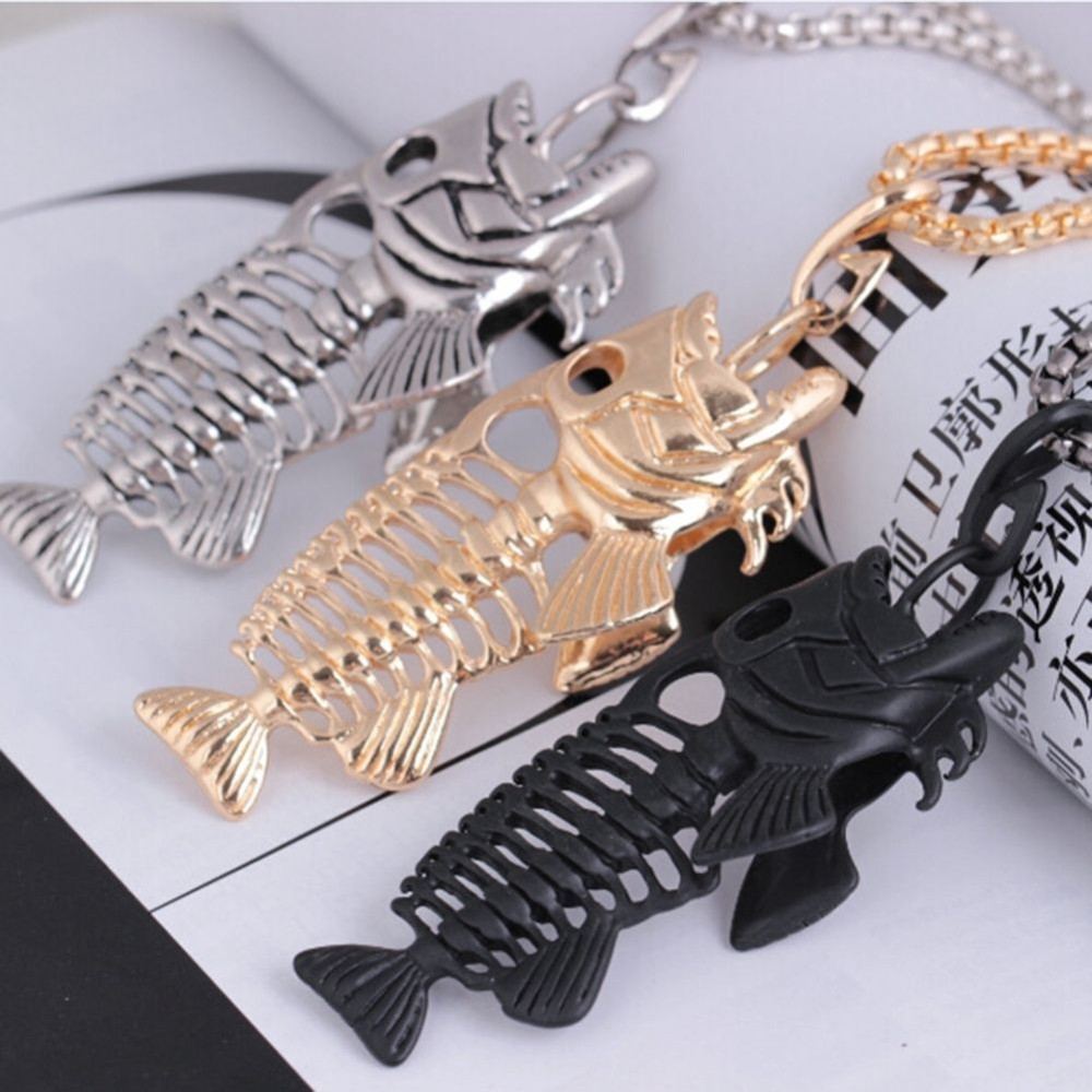 Fashions Hollow Fish Bone & Fishing Hook Pendant Necklaces Punk Style Men 316L Steel Link Chain 3 Colors Personality Jewelry