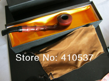 Free shipping real rose wood long fiammato Fashion Wooden pipe Tobacco Smoking Pipe with cloth bag with gift box
