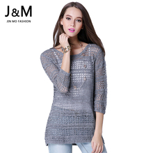 2016 New Brand Female Pullover Fashion Hollow Out Women Knitwear Sweater Autumn Design Sexy See Through Jumper Tops Women Coat(China (Mainland))