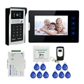 Free Shipping 7″ Touch Button Screen Video Door Phone Intercom System + 700TVL Outdoor RFID Code Keypad Number Camera In Stock