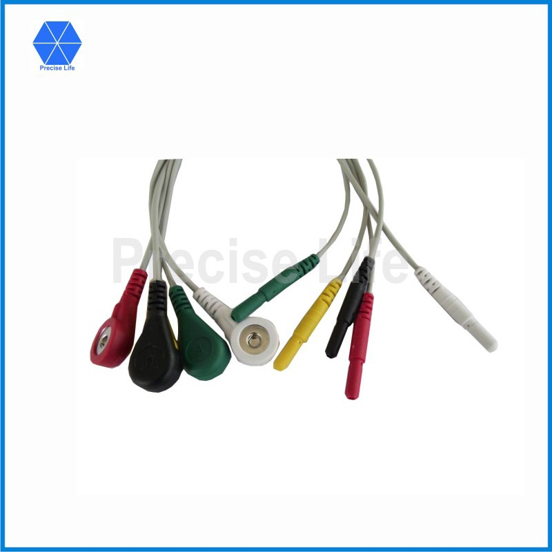 Din Style ECG cable ECG leadwires set 5 leads IEC color code with snap(China (Mainland))