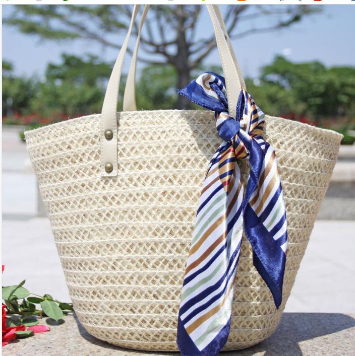 beach holiday straw woven handbags silk scarf artificial decoration shoulder bag big totes manual knitting bag(China (Mainland))