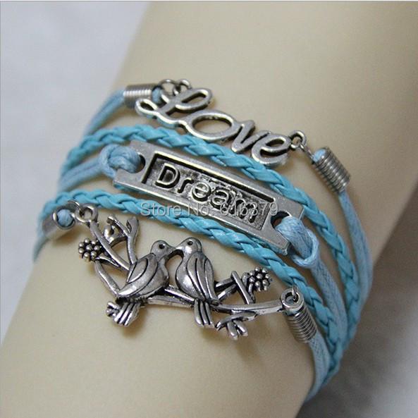 6PCS/Lot 2014 New Antique Silver Love,Dream,Two Birds Charm Bracelet Vintage Wax Leather Braid Bracelets Bangles(China (Mainland))