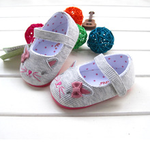 2015 soft sole babay girl's shoes velcro lovely mouse embroiery lovely princess kid's children's prewalker toddler shoes(China (Mainland))