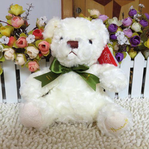 sitting 20 cm wholesale teddy bear silk scarf bear doll child birthday gift bear doll plush toy kids toys drop shipping(China (Mainland))