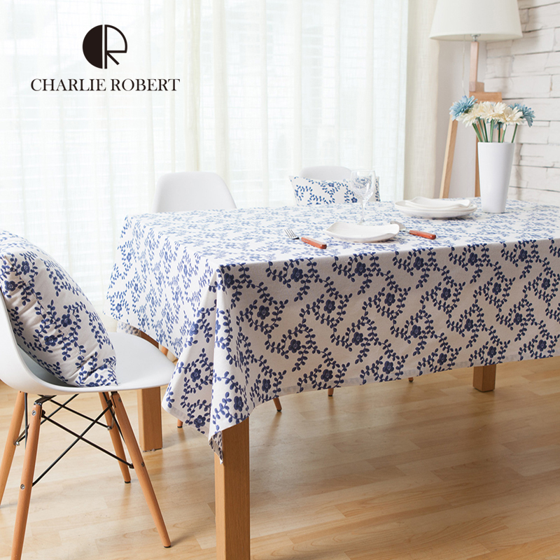 New Arrivals Cotton & Linen Table Cloth Blue And White Porcelain Printed Table Cover Pastoral Tablecloth toalha de mesa HH1965(China (Mainland))