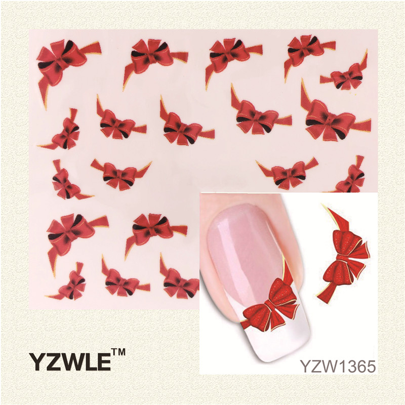 YZWLE 1 Sheet Fancy Red Butterfly Tie Sweets Casual Nail Decals Stickers Water Mark Beauty Decorations Foils French Tips Tool(China (Mainland))