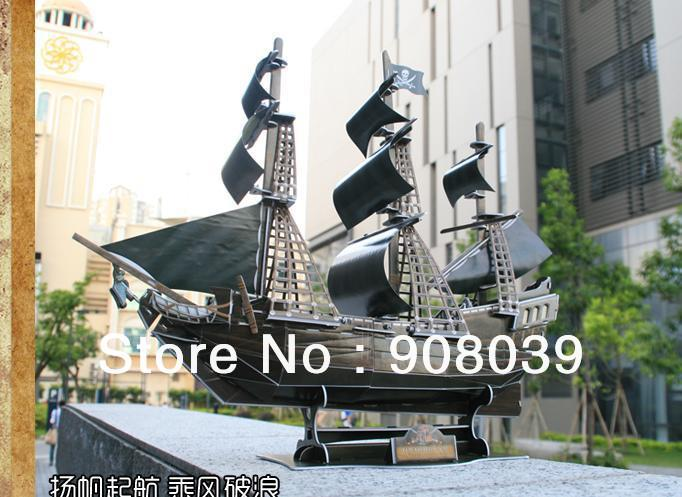SALE!ship within 24 hour Three-dimensional jigsaw puzzle pirate ship model queen revenge, black pearl model Educational Toy(China (Mainland))