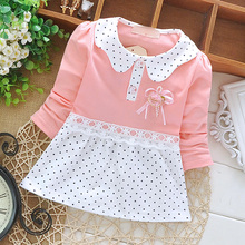 Free shipping autumn of 2015 new children's dress Korean baby girls'cotton polo long sleeve dress A122(China (Mainland))