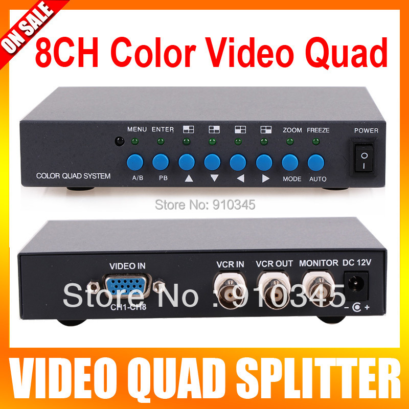 8 Channel Digital Color Quad System Video Processor Splitter BNC Switcher for Security System(China (Mainland))