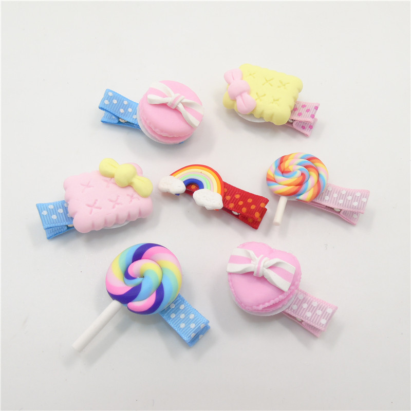 15pcs/lot Plastic Lollipop Baby Hair Clip Sweet Dessert Ice Pop Kid Lollypop Sugar-loaf Hairpin Rainbow Pretty Pastry Barrette(China (Mainland))