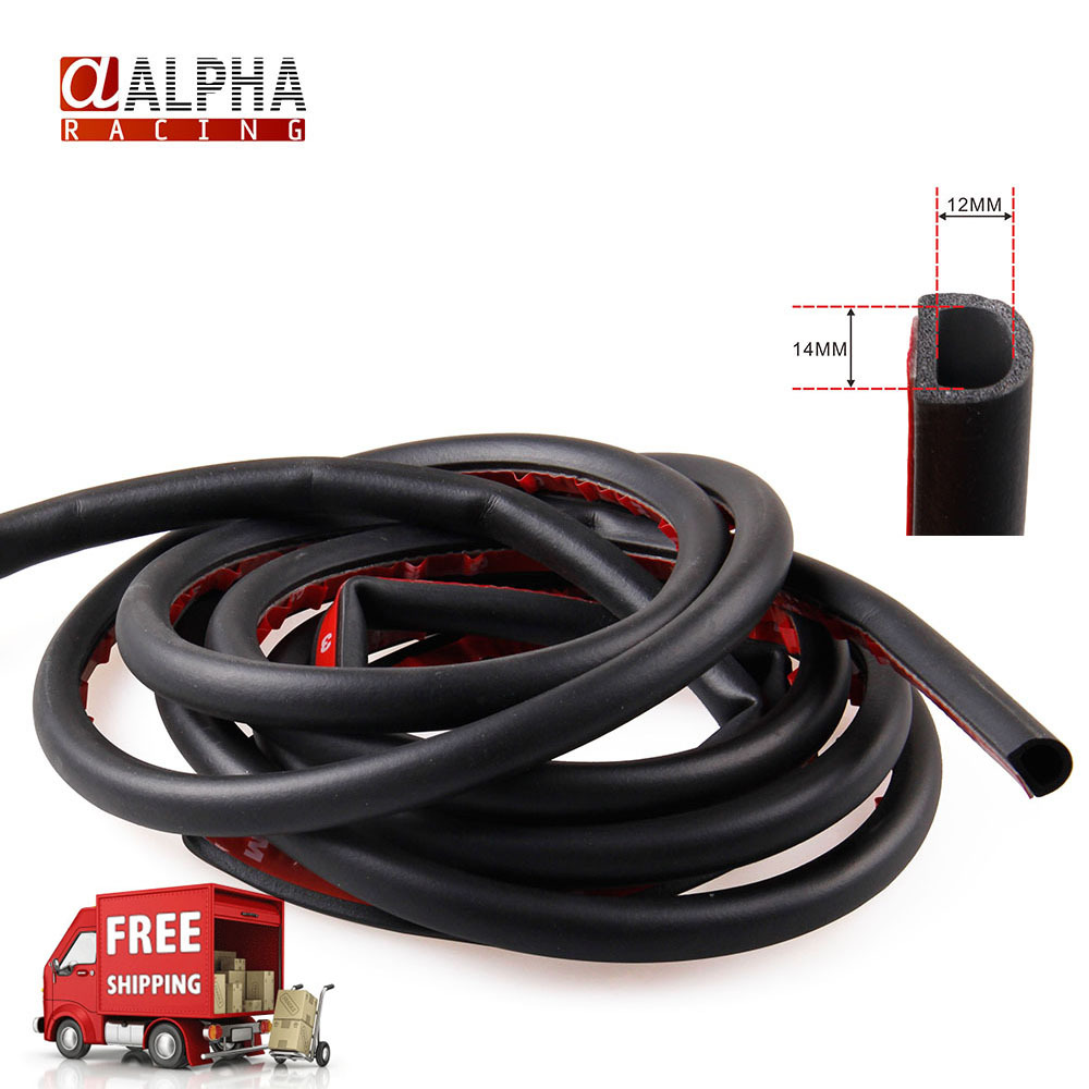 Alpha Racing-Free Shipping High Quality universal Auto Car D Style 4 meters ABS Rubber Black Door Window Edge Seal Filler Strip(China (Mainland))