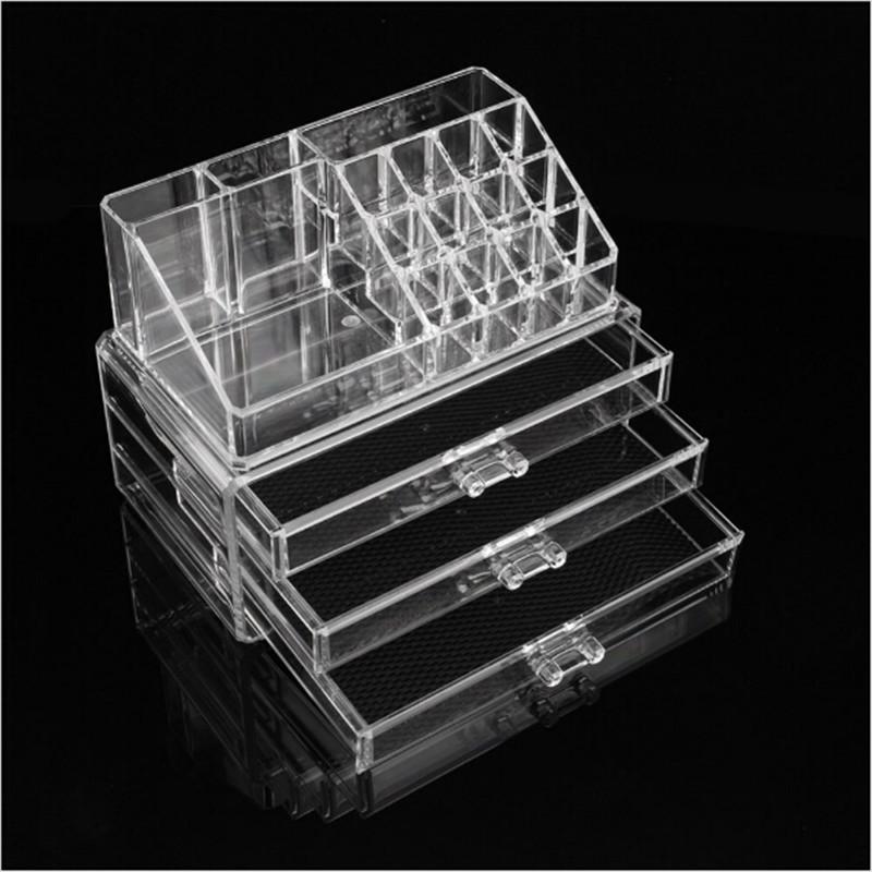 Hot Sell Clear Acrylic Organizer Box 3 Drawers 12 Grids Jewelry Display Box Storage Makeup Organizer Storage Box X 1 pcs(China (Mainland))