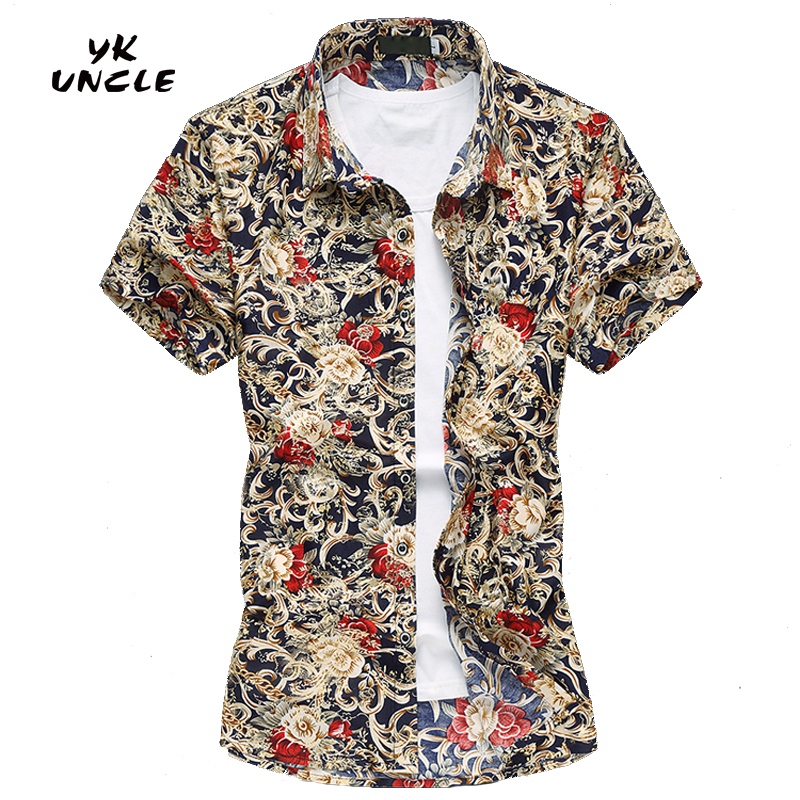Buy 2016 summer fashion mens short sleeve hawaiian beach for Mens slim hawaiian shirt