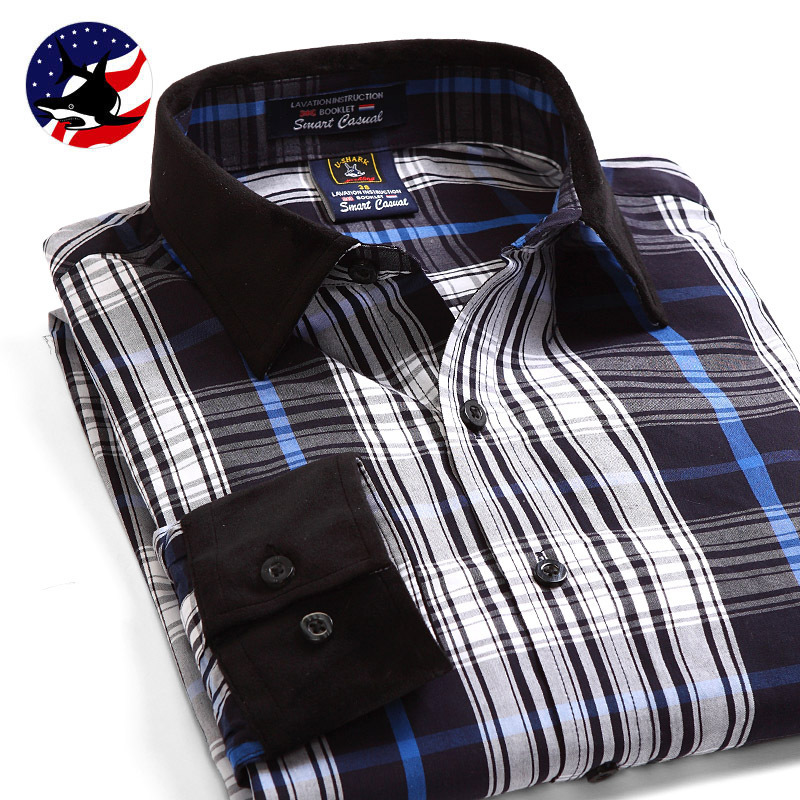 100% Cotton Top Quality England Style Men's Plaid Shirts Fashion Brand Business Shirt Men Blusas Camisas Masculina Social hombre(China (Mainland))