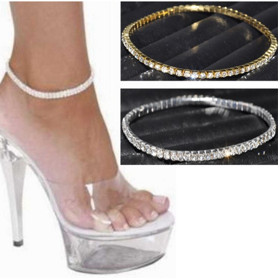 1Row Clear Crystal tennis Silver Gold Stretch Anklet Foot chain leg bracelet(China (Mainland))