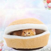 1pc/lot Cat Pet Sleeping Bed Bag Nest House Kennel Hamburger Shell Dog Warm Hiding Windproof Pet Nest Bun Pet Cat Bed 675825(China (Mainland))