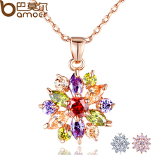 BAMOER Rose Gold Color Necklaces Pendants with Multi Color AAA Cubic Zircon For Women Christmas Gift JIN029(China (Mainland))