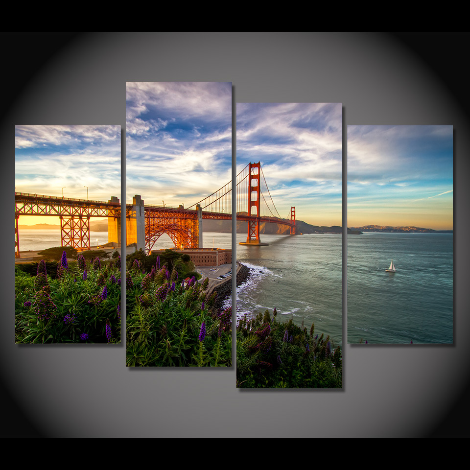 Print Canvas Painting san francisco california flowers Wall Art Picture Bar Cafe Home Decoration Living Room Free Shipping(China (Mainland))