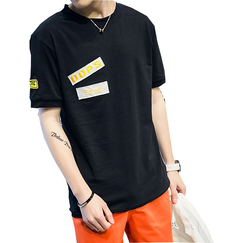 2016 New Letter Printed Men 39 S T Shirts Black Short Sleeve