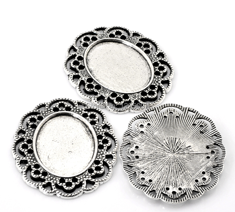 150Pcs Support de Cameo Oval Cabochon Frame Settings Antique Silver Tone 41x35mm(1 5/8x1 3/8) Fit 25x18mm<br><br>Aliexpress
