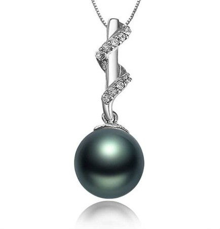 GVBORI Tahiti Black Pearls Inlaid Diamond Pendant +925 Sterling Silver Chain Necklace Fashion Style Fine Jewelry Free Shipping<br><br>Aliexpress