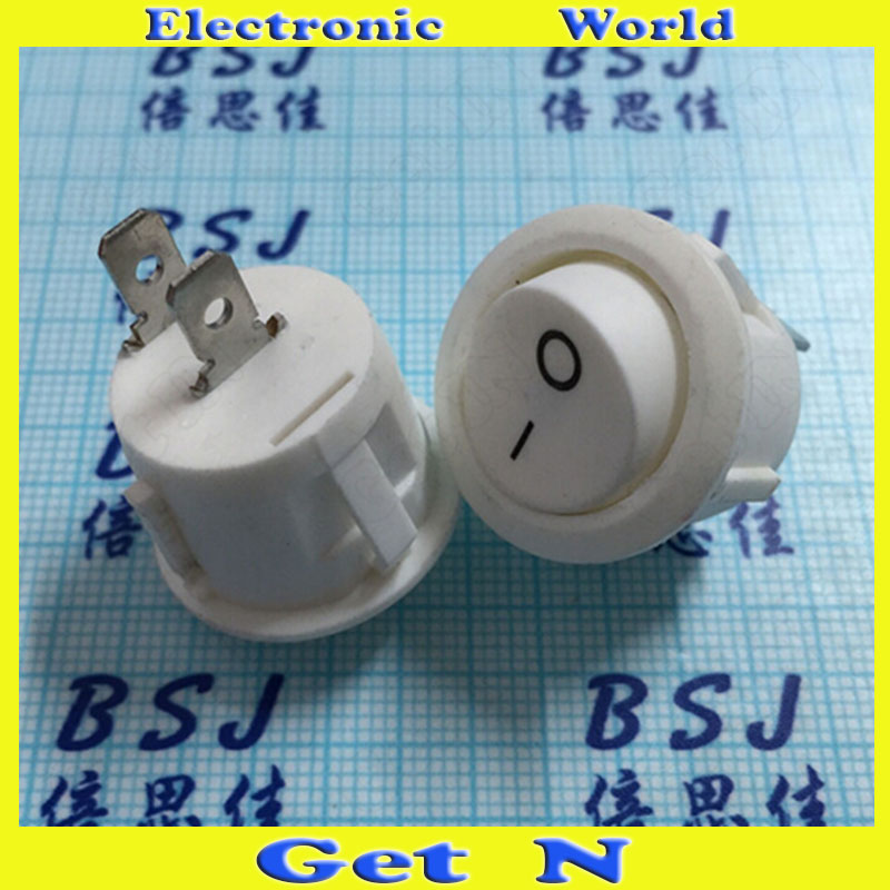 100pcs    KCD1 White Rocker Switches 4 Copper Pins 2 Files Power Switch Round Buttons 6A/25v<br><br>Aliexpress