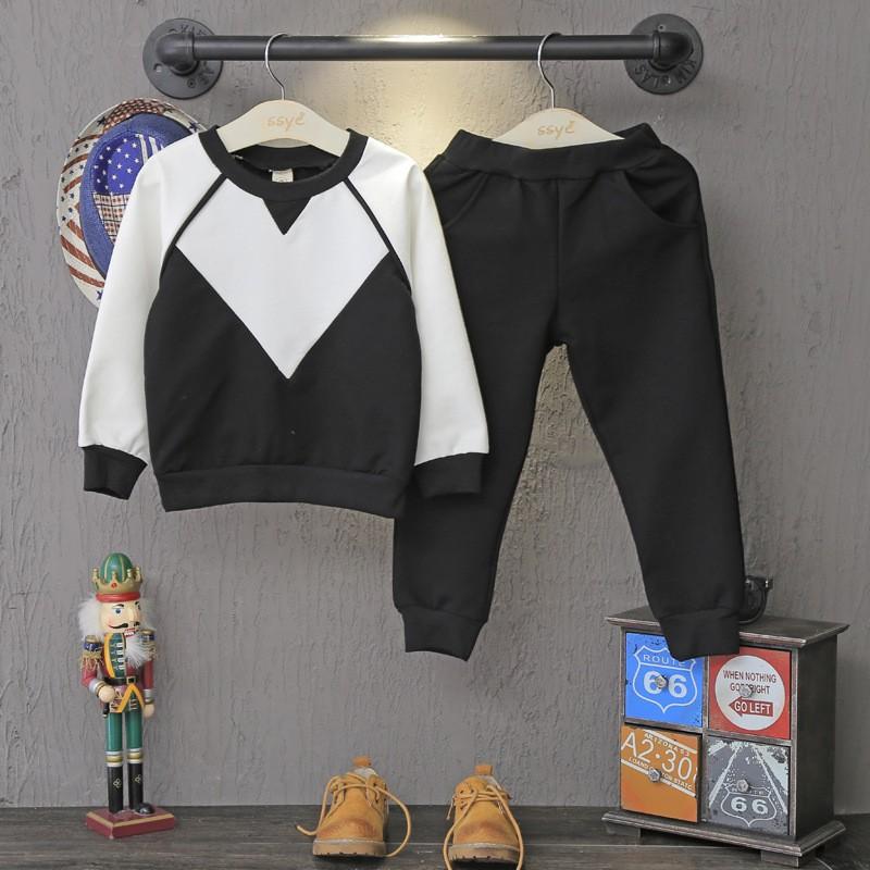 Скидки на Дети костюм черный + белый свитер брюки для мальчиков два одежду и брюки