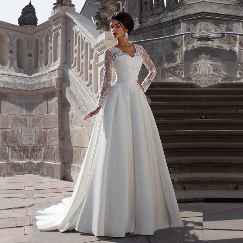 Vestido De Casamento A Line Lace Long Sleeve Weddi...